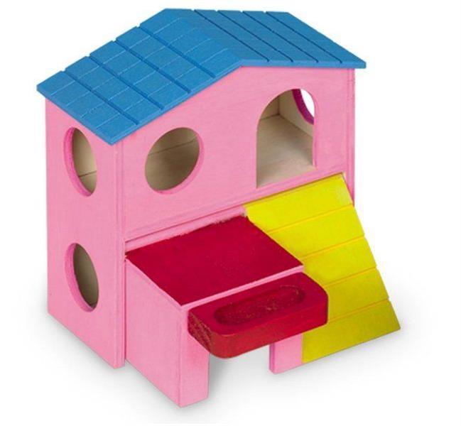Domek dřevo křeček dvoupatrový s terasou Nobby 15 x 16 x 15 cm