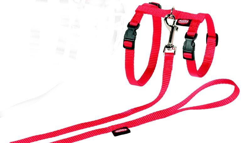 Postroj cat nylon s vod. červený Nobby XL