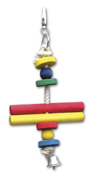 Hračka pták dřevo/bavlna dvě dřívka Tommi 28 cm