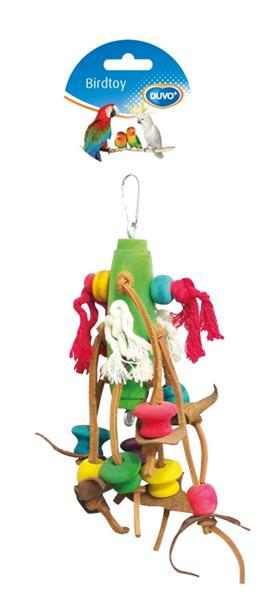 Hračka pták dřevo/bavlna - kostky a kůže Duvo+ 23 cm