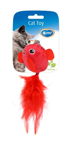 Hračka cat textil Zvíře s peřím mix barev Duvo+ 2 ks, 5 cm