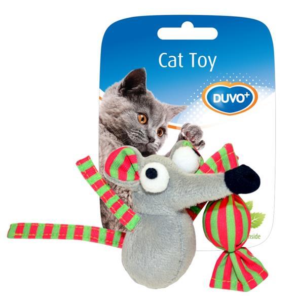 Hračka cat textil Myš a bonbón mix barev Duvo+ 7,5 x 7 x 3,5 cm