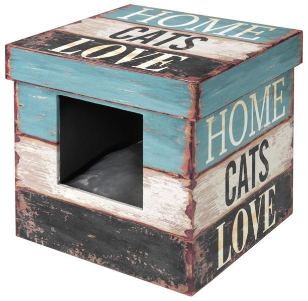 "Domek cat dřevo - Krabice ""Home cats Love"" D&D 35 x 35 x 35 cm"