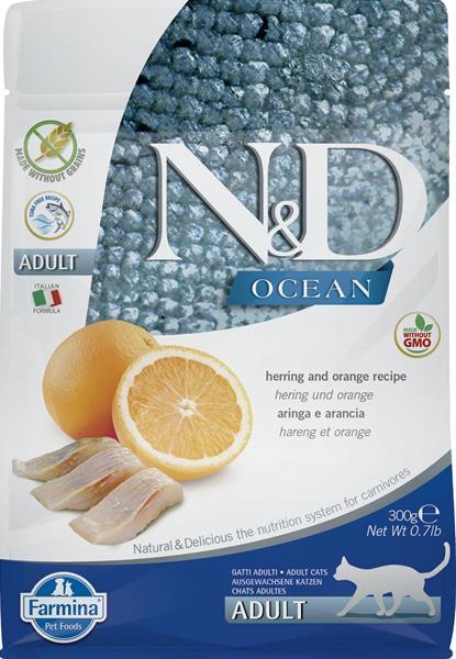 N&D OCEAN Cat Grain Free Adult Herring & Orange 0,3 kg