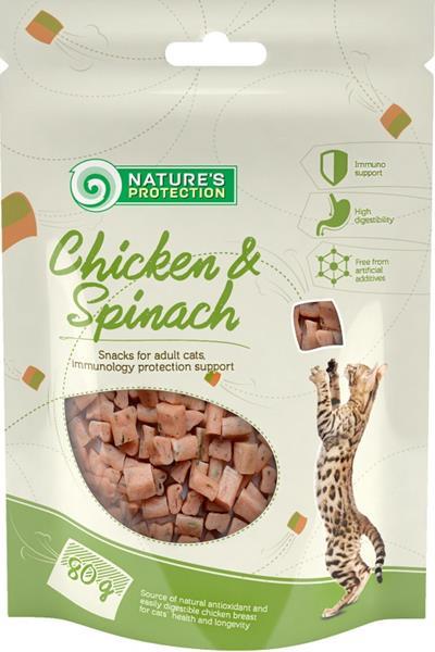 Nature's Protection Cat Snack kuřecí kostky+špenát 80 g