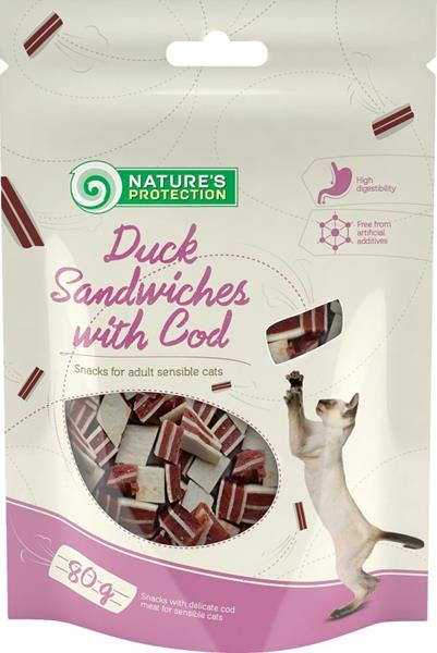 Nature's Protection Cat Snack kachní sandwich+ryba 80 g
