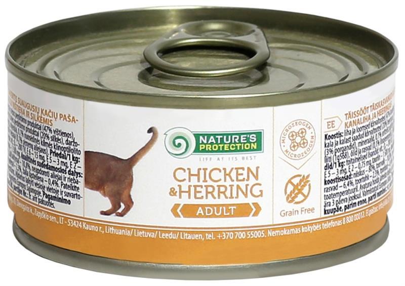 Nature's Protection Cat konz.Adult kuře/sleď 100 g