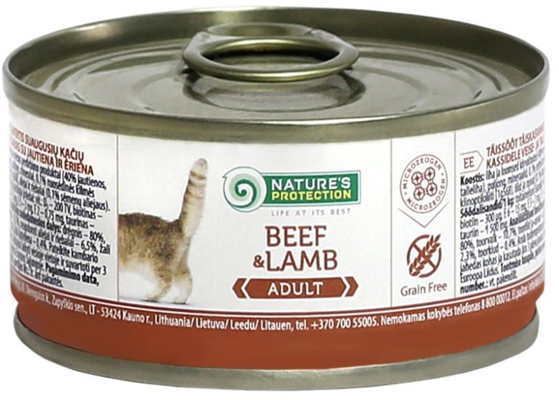 Nature's Protection Cat konz.Adult hovězí/jehně 100 g