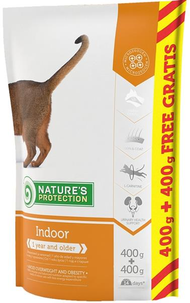 Nature's Protection Cat Dry Indoor 400 g + 400 g