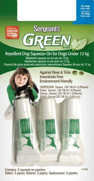 Sergeanťs Green Spot-on pro psy do 12kg 3x1,5 ml