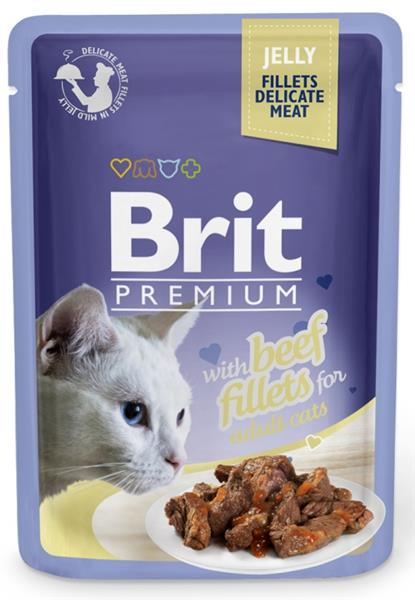 Brit Premium Cat kaps. Delicate Fillets in Jelly with Beef 85 g