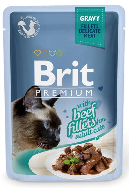 Brit Premium Cat kaps. Delicate Fillets in Gravy with Beef 85 g