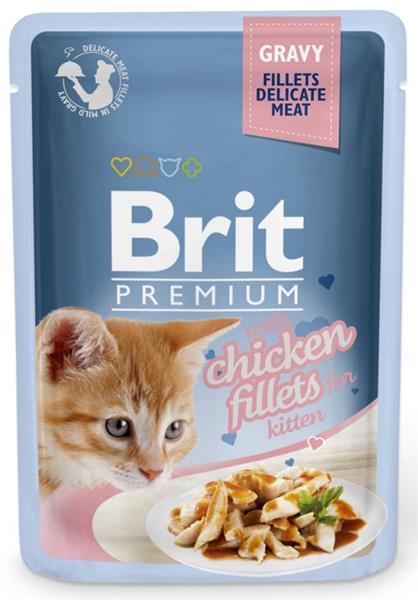 Brit Premium Cat kaps. Delicate Fillets in Gravy with Chicken for Kitten 85 g
