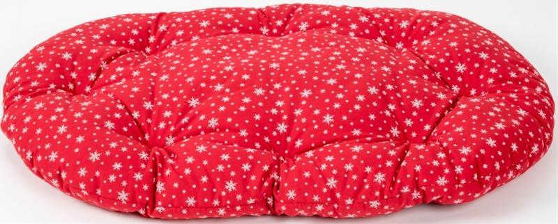 Polštář ovál bavl. Vločka červený 80 cm
