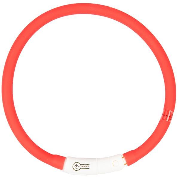 Obojek silikon svítící červený DUVO+ 70 cm
