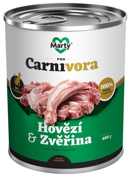 MARTY konz. pro kočky ProCarnivora-hovězí+zvěř 400g
