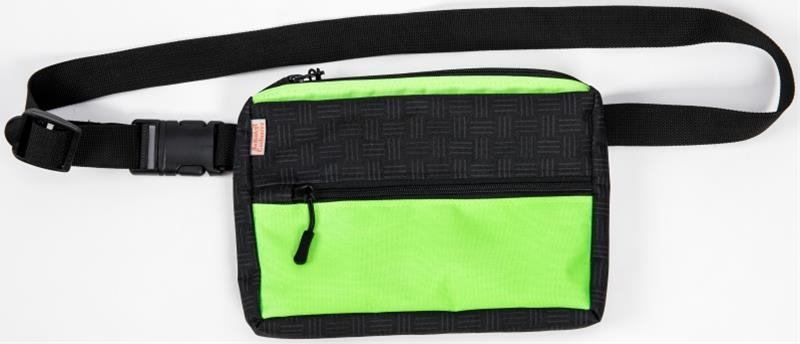 Pamlskovník nylon na opasek černo-neon zelený 23 x 16 x 3,5 cm