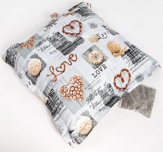 Polštář bavl. Love krémový s bylinkou 55 x 55 cm, 20 g levandule