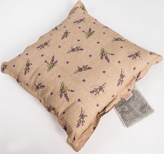 Polštář bavl. Levandule béžový s bylinkou 45 x 45 cm, 20 g levandule