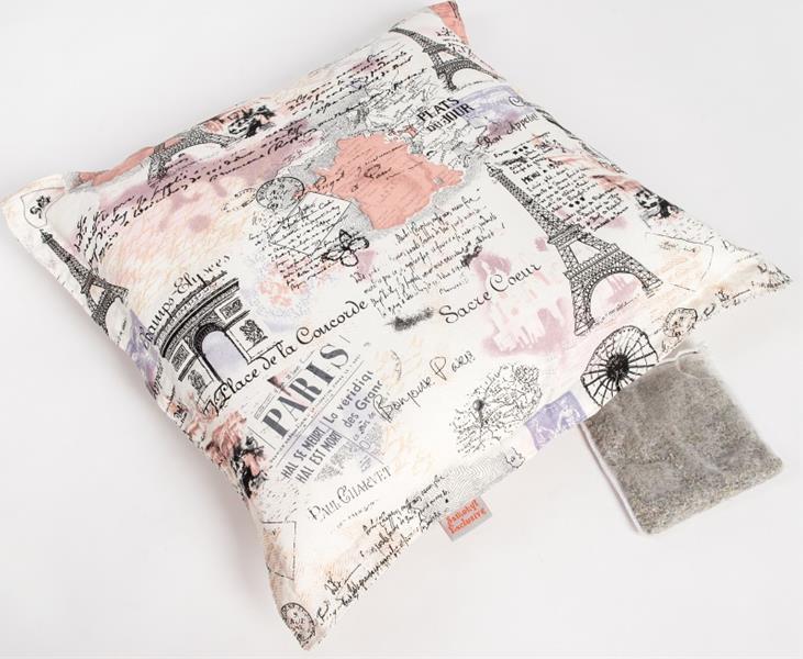 Polštář bavl. Paříž krémový s bylinkou 55 x 55 cm, 20 g levandule