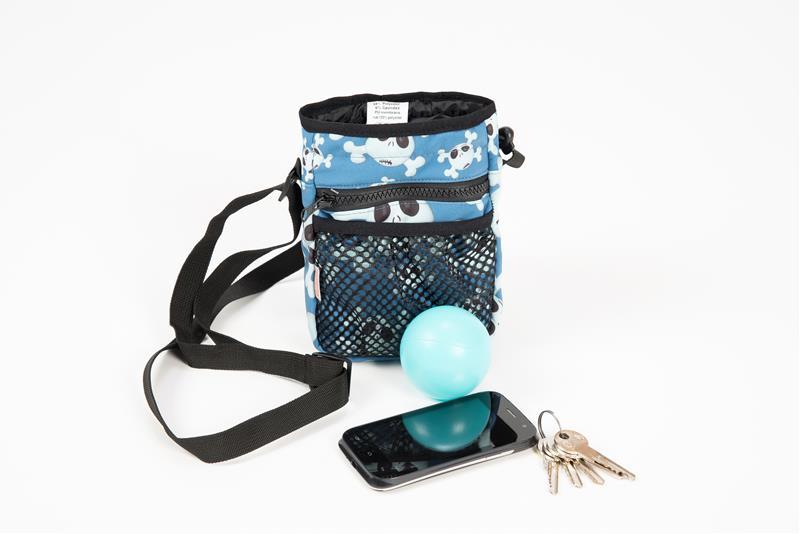 Pamlskovník softshell 2v1 modrý s lebkami 13 x 19 x 6 cm