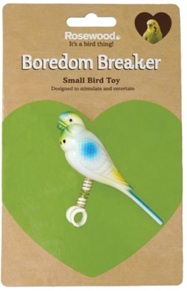 Hračka pták plast andulka na pružině, Rosewood