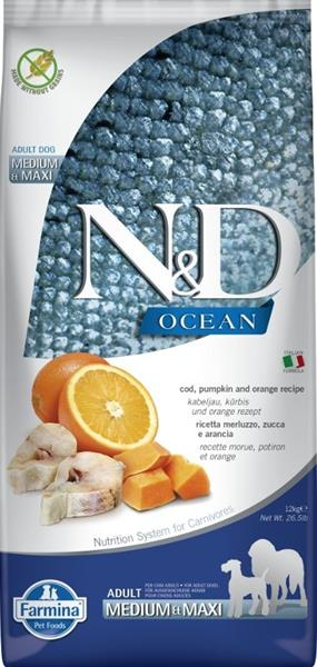 N&D OCEAN Dog Grain Free Adult M/L Codfish & Pumpkin & Orange 12 kg