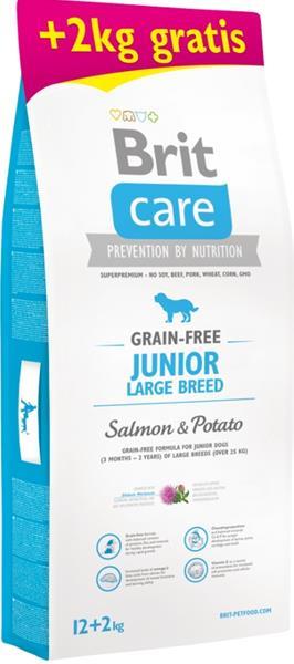 Brit Care Grain Free Dog Junior Large Breed Salmon & Potato 12 kg + 2 kg zdarma